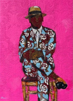His Flowers - Portrait Painting on Fabric, Pink, Blue, Floral