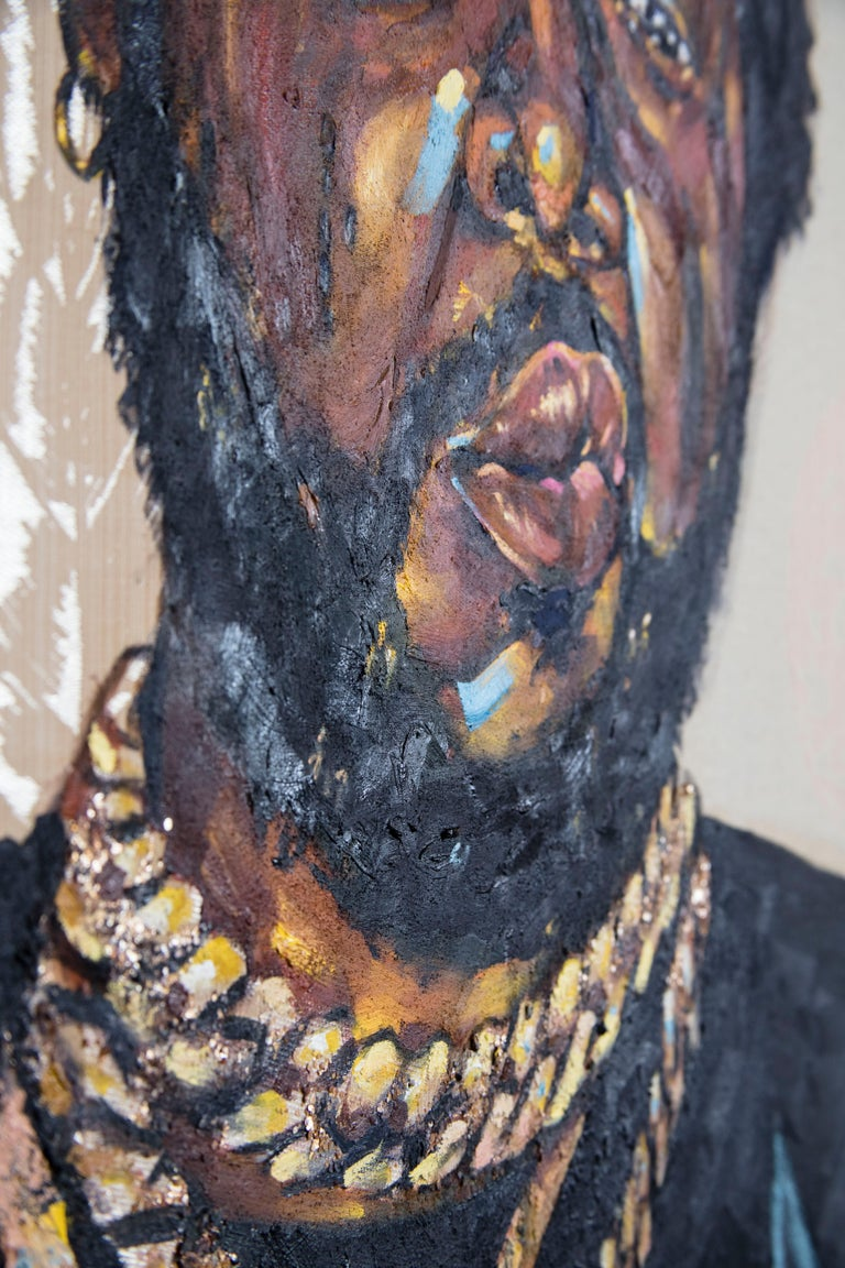 La Maquina - Portrait Painting of Conway the Machine, Rapper, Gold, Black For Sale 7