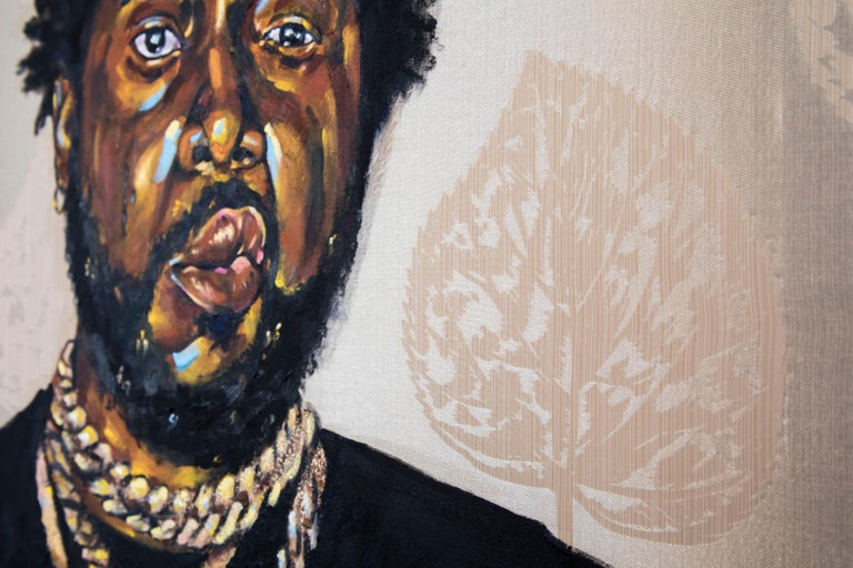 La Maquina - Portrait Painting of Conway the Machine, Rapper, Gold, Black - Beige Figurative Painting by Omari Booker