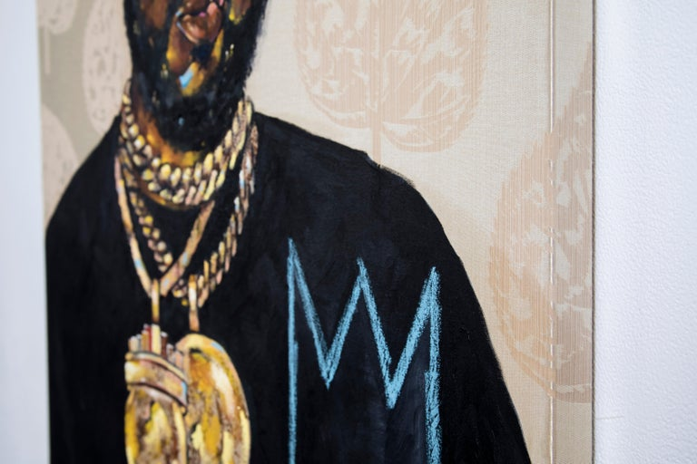 This painting is a portrait of the rapper, Conway The Machine. Rendered on Gold found fabric, Conway is centered in the composition, meeting the viewer's gaze with a brash expression. He wears a black hat, several gold chains, and a black shirt with