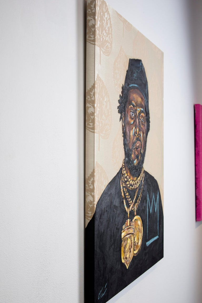 La Maquina - Portrait Painting of Conway the Machine, Rapper, Gold, Black For Sale 2