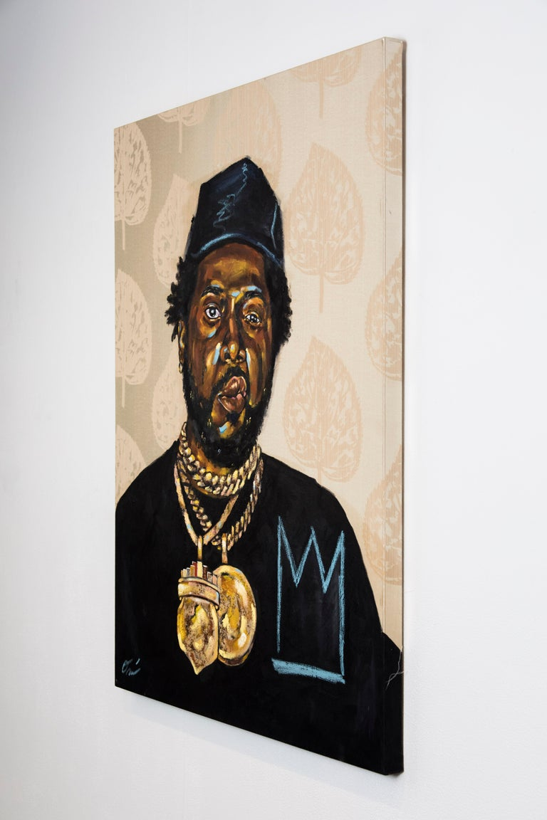 La Maquina - Portrait Painting of Conway the Machine, Rapper, Gold, Black For Sale 3
