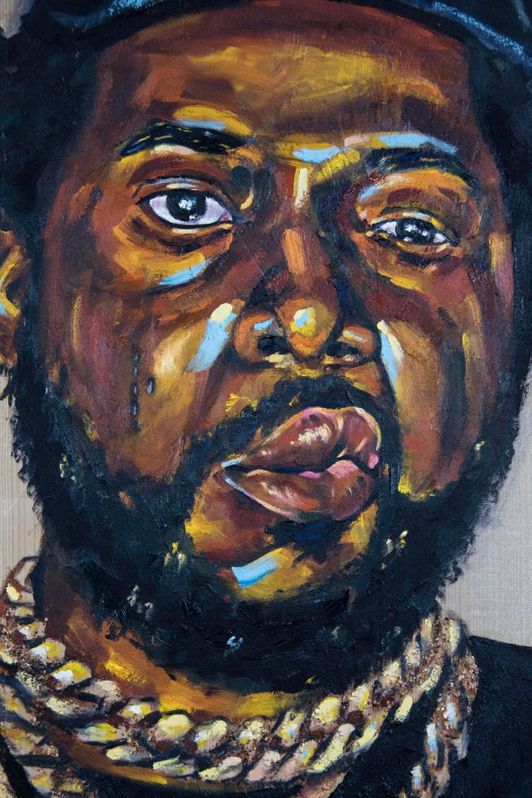La Maquina - Portrait Painting of Conway the Machine, Rapper, Gold, Black For Sale 4