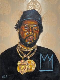 La Maquina - Portrait Painting of Conway the Machine, Rapper, Gold, Black