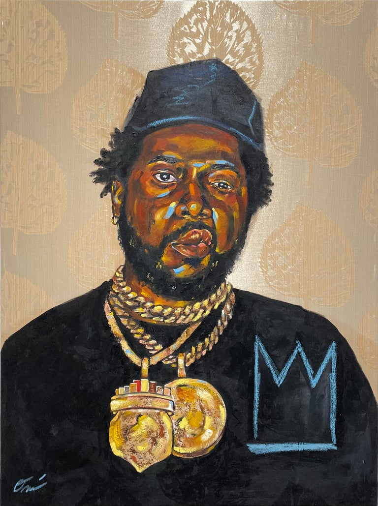 Omari Booker Figurative Painting - La Maquina - Portrait Painting of Conway the Machine, Rapper, Gold, Black