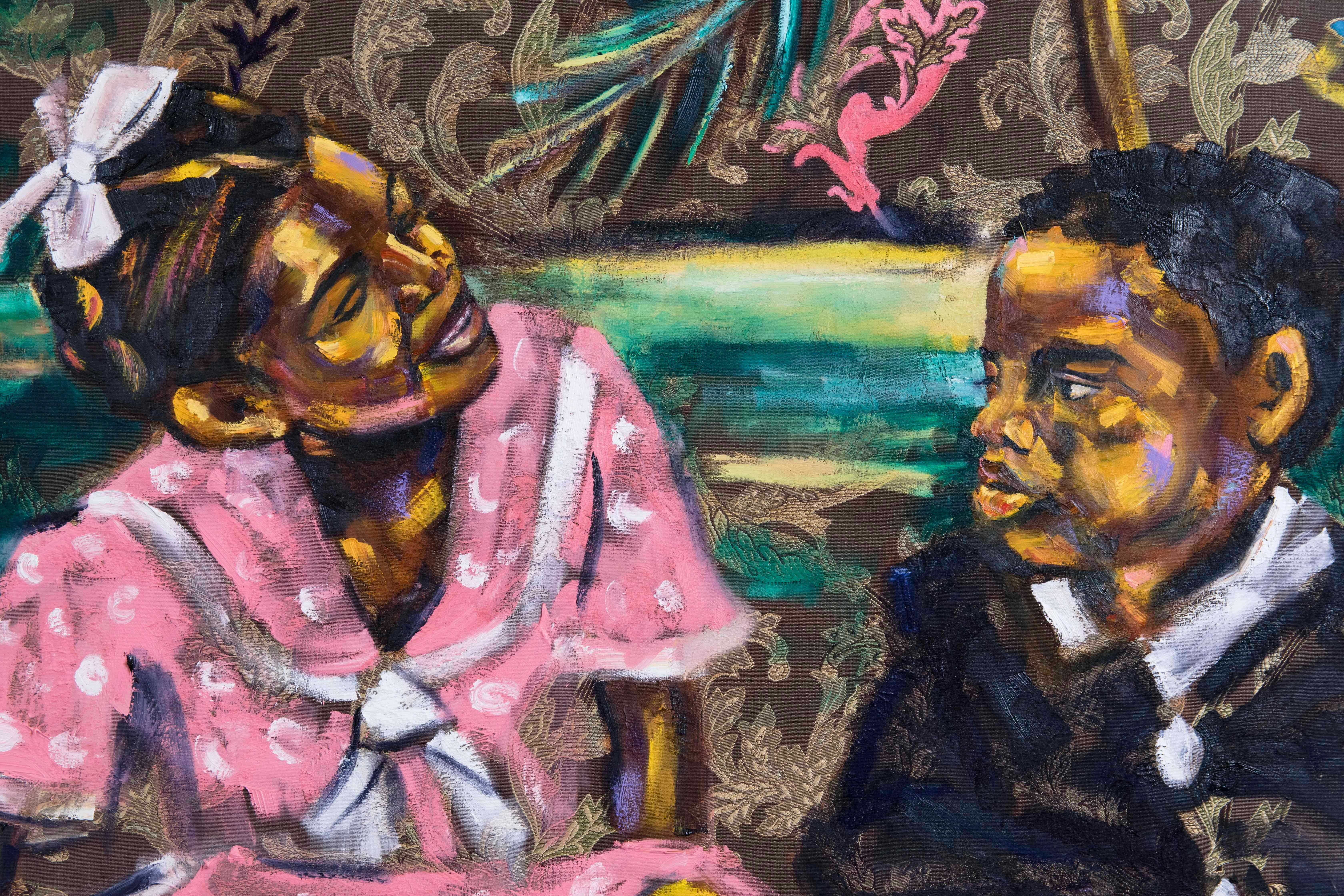 Love, Me - Figurative Painting on Brown Fabric