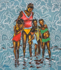 Store Bay - Family Portrait in The Water, Oil Paint on Floral Fabric, Blue