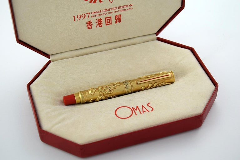 Omas 1997 18-Karat Gold Return to the Motherland Limited Edition Fountain Pen For Sale 12