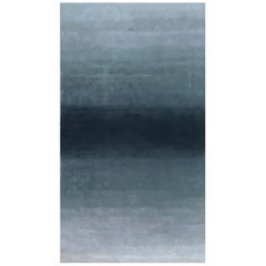 Ombre Blue Jaquard-Weave Gradient Rug