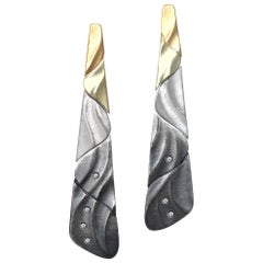 Ombre Color Long Earrings with Gold, Silver and Oxidized Silver Diamonds Accents
