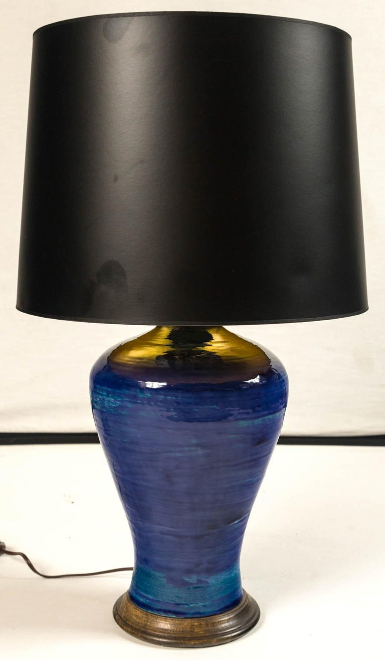 Ombre Glazed Ceramic Table Lamp, 20th Century In Good Condition For Sale In Chappaqua, NY
