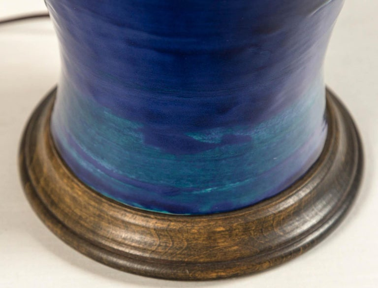 Ombre Glazed Ceramic Table Lamp, 20th Century For Sale 5