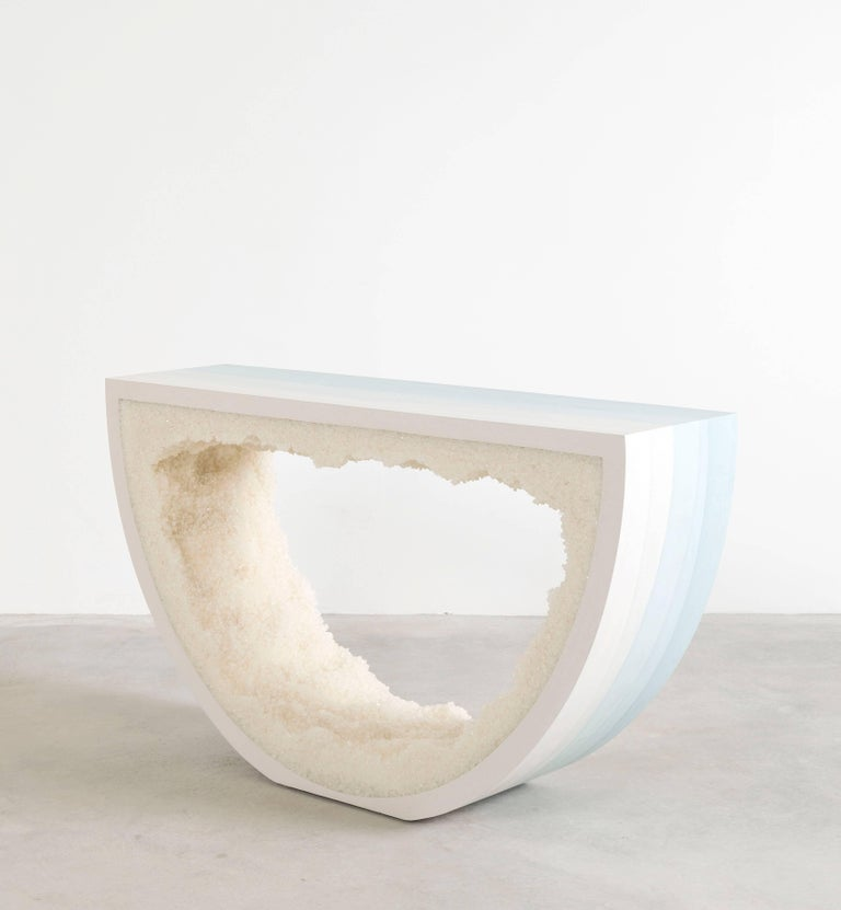 American Ombre Radius Console, Skyblue Cement and White Rock Salt by Fernando Mastrangelo For Sale