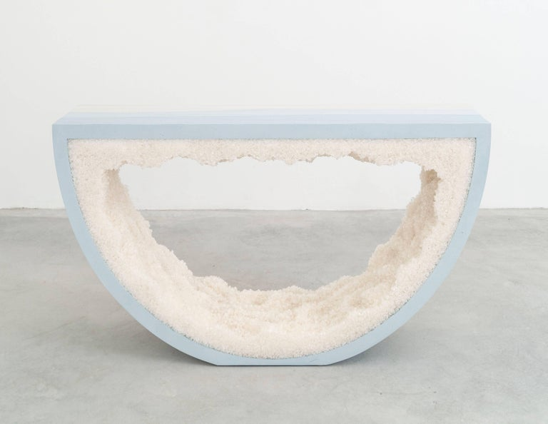 Ombre Radius Console, Skyblue Cement and White Rock Salt by Fernando Mastrangelo In New Condition For Sale In Brooklyn, NY