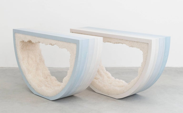 Contemporary Ombre Radius Console, Skyblue Cement and White Rock Salt by Fernando Mastrangelo For Sale