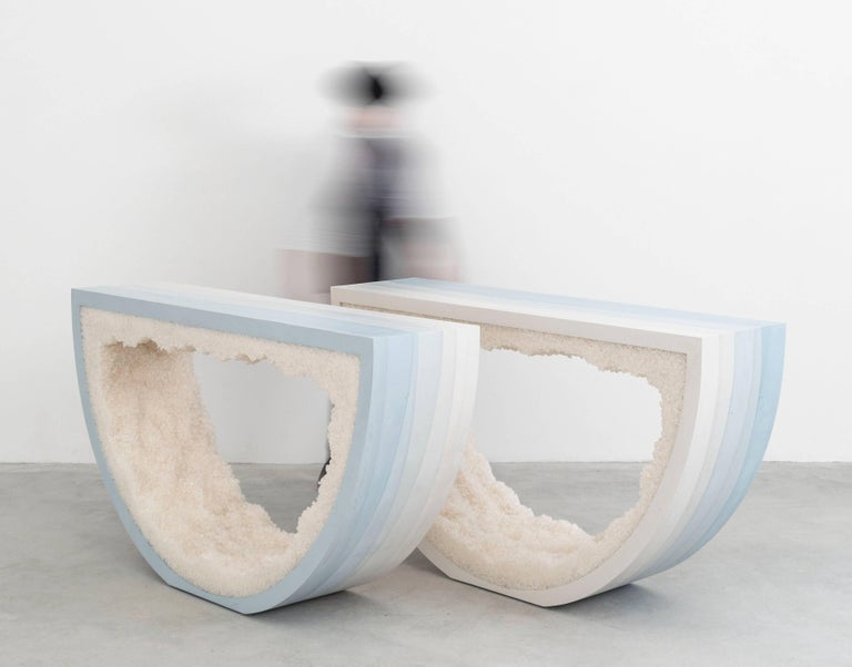 Ombre Radius Console, Skyblue Cement and White Rock Salt by Fernando Mastrangelo For Sale 1
