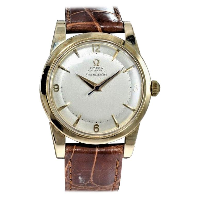 Omega 14 Karat Yellow Gold Seamaster Automatic Winding 1950s with Original Dial For Sale