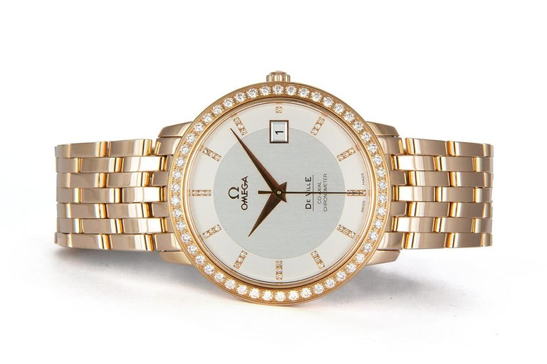 We are pleased to offer this 2013 Omega 18k Rose Gold & Diamond Deville Prestige Co‑Axial 36.5mm 413.55.37.20. The De Ville Prestige collection has attracted a large and loyal following with its classic, elegant design. These timepieces are