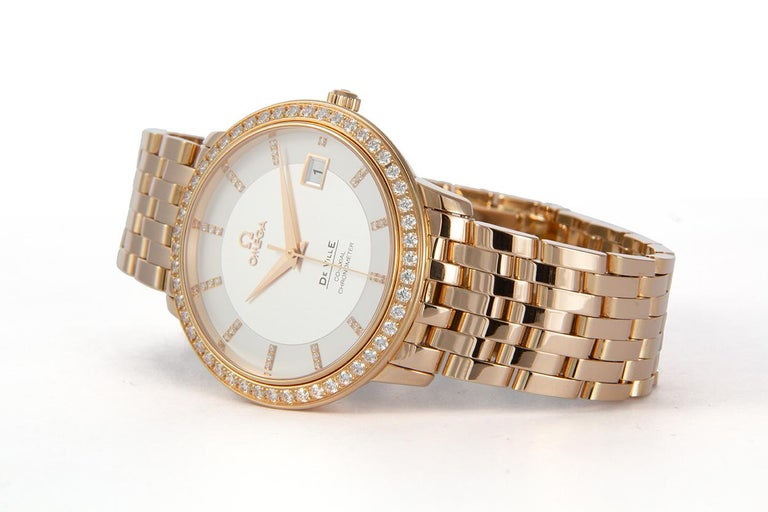 Modern Omega 18 Karat Rose Gold and Diamond Deville Prestige Co-Axial 413.55.37.20 BNP For Sale