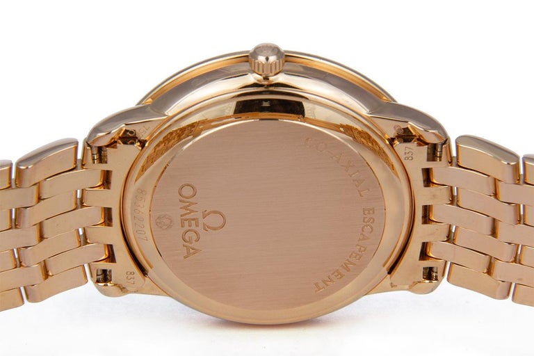 Women's Omega 18 Karat Rose Gold and Diamond Deville Prestige Co-Axial 413.55.37.20 BNP For Sale