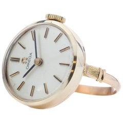 Omega, 18 Karat Yellow Gold Manual Ring Watch, 1979