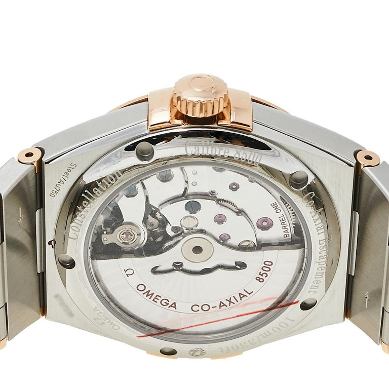 Omega 18K Rose Gold & Stainless Steel Constellation Men's Wristwatch 38 mm In New Condition In Dubai, Al Qouz 2