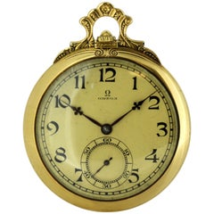 Omega 18 Karat Solid Yellow Gold Manual Winding Pocket Watch, 1950s