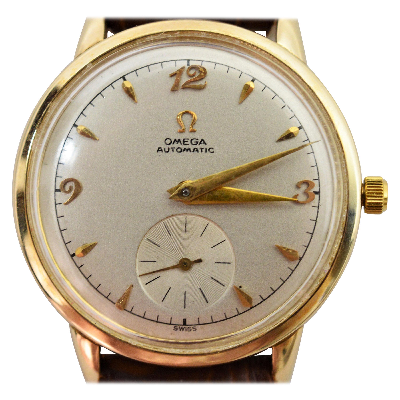 Omega 342 Yellow Gold Men's Bumper Wristwatch