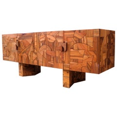 Omega Abstract Design Mozaic Brutalist Sideboard by Felix De Boussy for Belgali