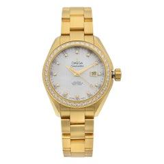 Omega Aqua Terra MOP 18K Yellow Gold Diamond Automatic Watch 231.55.34.20.55.001