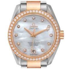 Omega Aqua Terra Steel Rose Gold Diamond Watch 231.25.39.21.55.001 Box Card