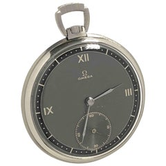 Omega Art Deco Steel Cased Pocket Watch