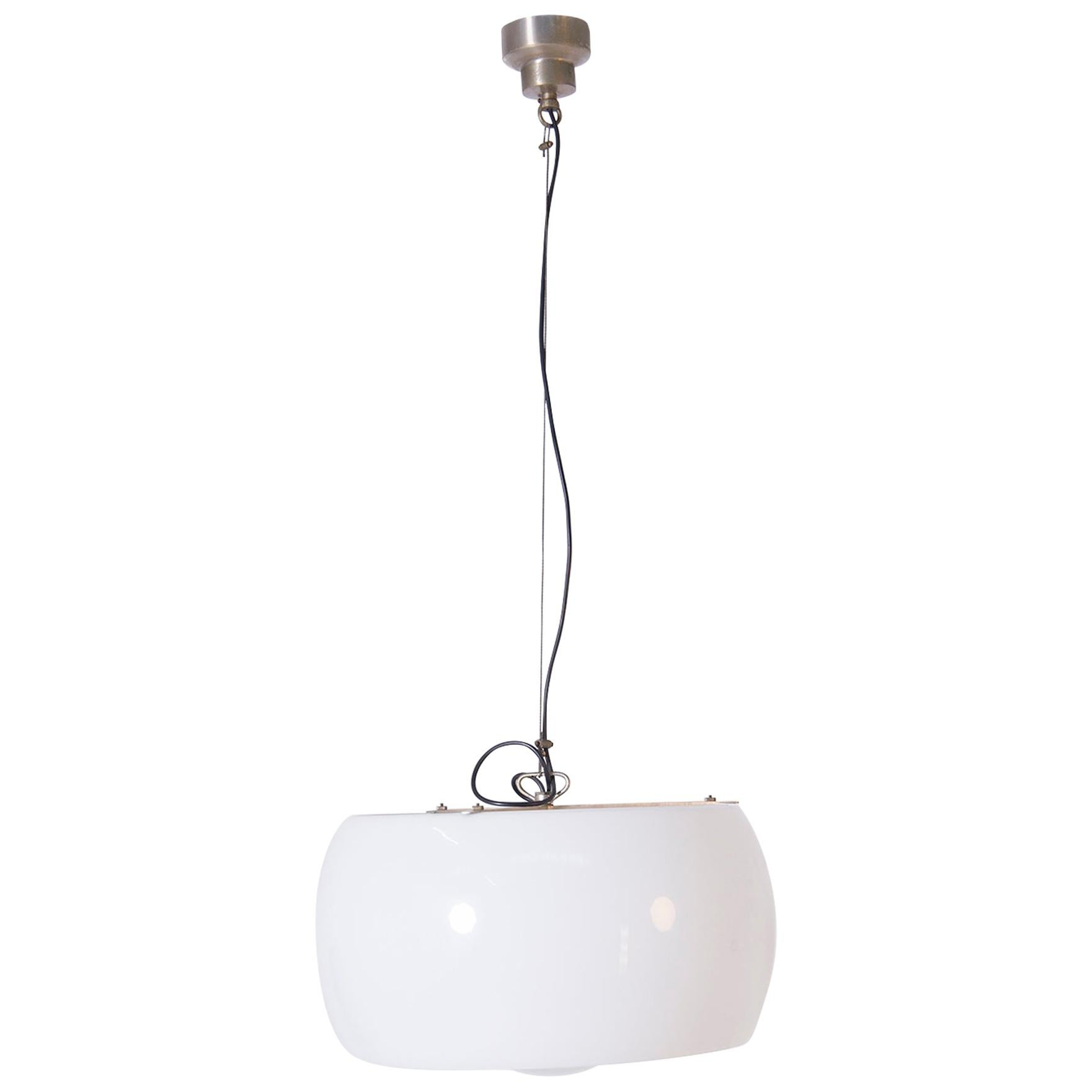 """""""Omega"""" Big white Hanging Lamp by Vico Magistretti for Artemide, 1962s"""