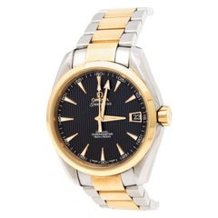 Omega Black 18K Yellow Gold Stainless Steel Aqua Terra Men's Wristwatch 37 mm