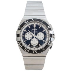 Omega Black Stainless Steel Constellation Double Chronograph Mens Wristwatch41mm