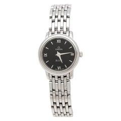 Omega Black Stainless Steel De Ville Prestige Women's Wristwatch 24.40 mm