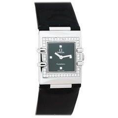 Omega Black Stainless Steel Diamond Constellation Quadra Women's Wristwatch 19mm
