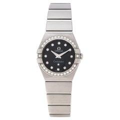 Omega Black Stainless Steel Diamonds Constellation 123.15.24.60.51.002 Women's W