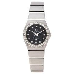Omega Black Stainless Steel Diamonds Constellation Women's Wristwatch 24 mm