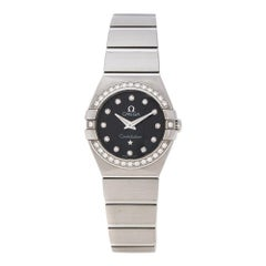 Omega Black Stainless Steel Diamonds Constellation Women's Wristwatch 24 mm