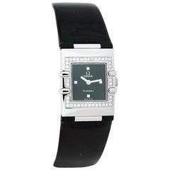 Omega Black Stainless Steel Patent Leather Diamond Quadra Womens Wristwatch 19mm