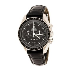 Omega Black Stainless Steel Speedmaster Professional Moonwatch 311.33.42.30.01.0