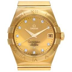 Omega Constellation 12350382158001 18 Karat Gold, Diamond Dial Automatic Watch