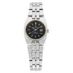 Omega Constellation 14 Karat White Gold Steel Black Dial Ladies Watch 568.014