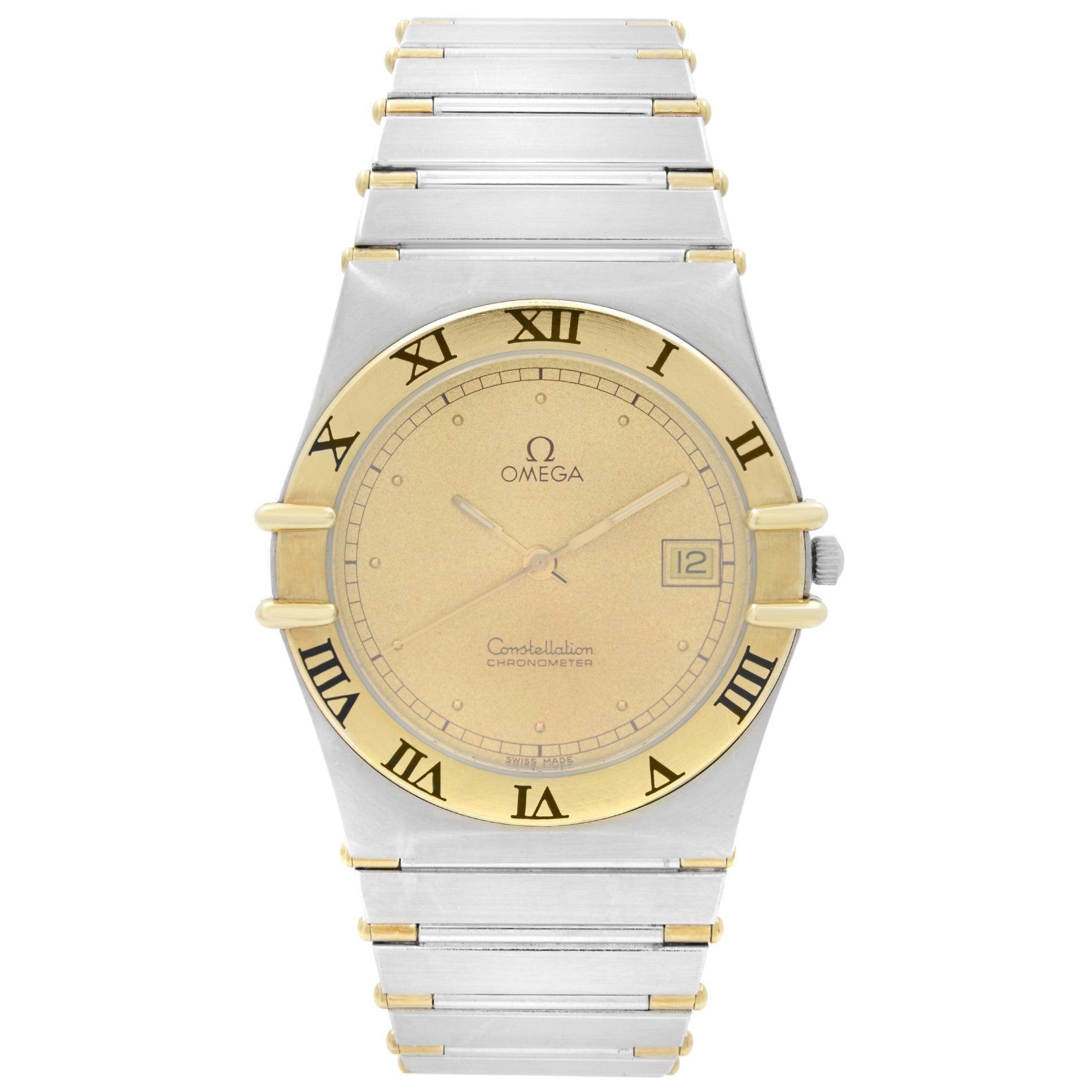 Omega Constellation 1431 18k Gold Steel Champagne Dial Quartz Men Watch 3980876