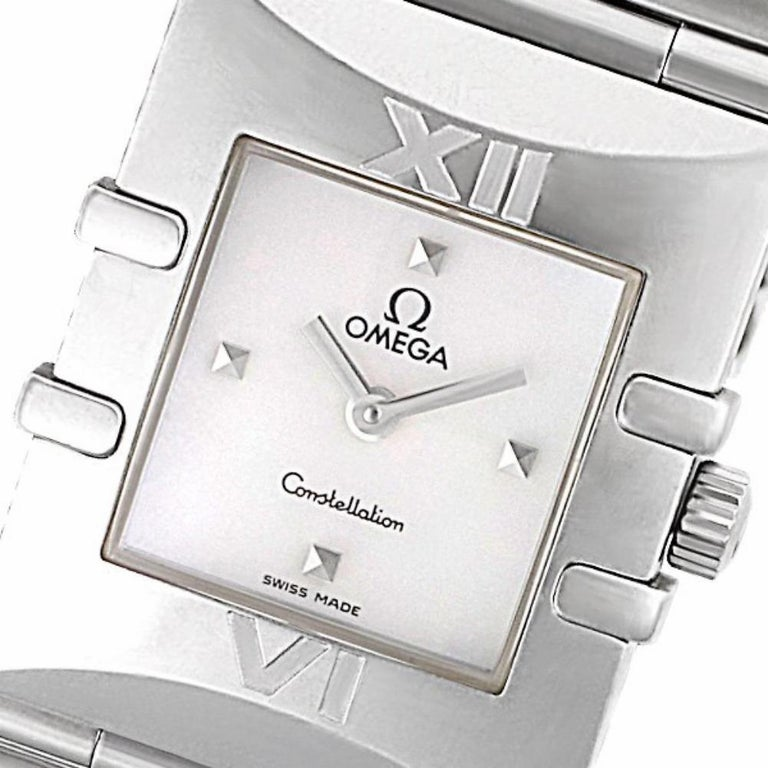 Omega Constellation Reference #:1521.71.00. Ladies Omega Constellation Quadra in stainless steel with Mother of Pearl dial. Quartz. Circa 1990s. Fine Pre-owned Omega Watch. Certified preowned Omega Constellation 1521.71.00 watch is made out of