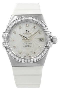 Omega Constellation 18 Karat Gold MOP Dial Diamond Watch 123.57.35.20.55.005