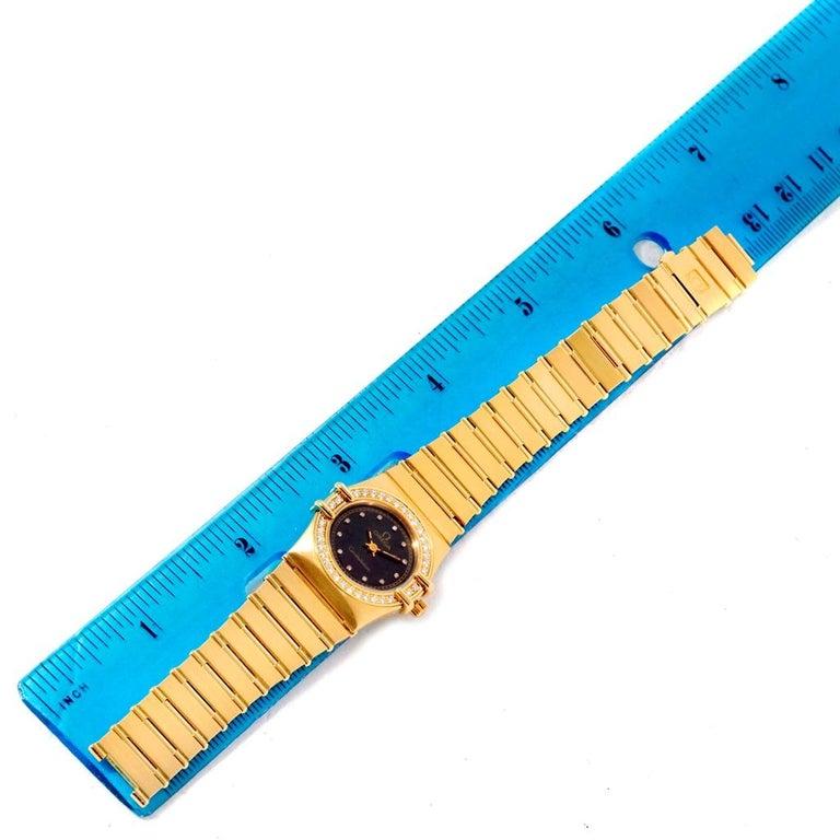 Omega Constellation 18 Karat Yellow Gold Diamond Black Dial Watch For Sale 6