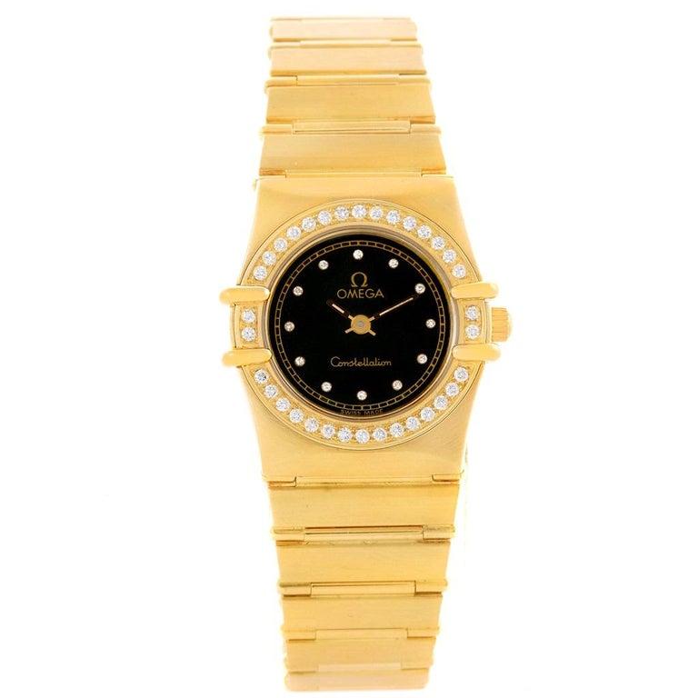 Omega Constellation 18 Karat Yellow Gold Diamond Black Dial Watch In Good Condition For Sale In Atlanta, GA