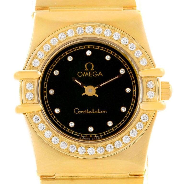 Women's Omega Constellation 18 Karat Yellow Gold Diamond Black Dial Watch For Sale